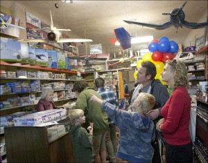 A boy points to some of the model planes in Evett's Model Shop on Saturday. (Photo by Brandon Wise)