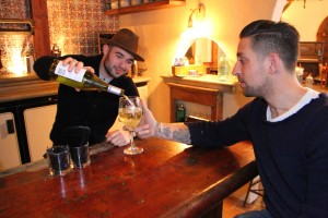 Designer Matt Winter (right) and owner Max Russo share a drink during the days leading up to the opening of 41 Ocean. (Daniel Archuleta daniela@smdp.com)
