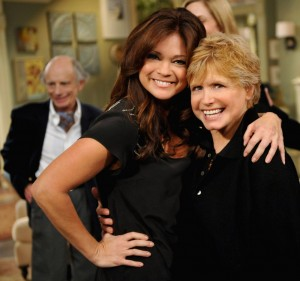 Franklin (right) with her former 'One Day at a Time' co-star Valerie Bertinelli. (Photo courtesy Google Images)