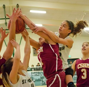 St. Monica and Cantwell-Sacred Heart battle for a rebound on Saturday. (Photo by Paul Alvarez Jr.)