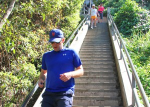People exercise on the famous Santa Monica stairs on Wednesday. (Photo by Daniel Archuleta)