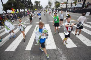 Runners gather on Ocean Avenue after Sunday's L.A. Marathon.