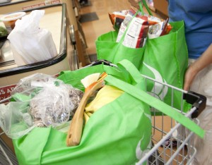 IN USE: Reusable bags have become a common sight since a ban on plastic bags began. (Photo by Brandon Wise)