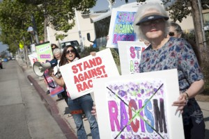 Santa Monica/Westside YWCA members held a rally Friday along Pico Boulevard as part of the national Stand Against Racism movement, which aims to eliminate discrimination and celebrate diversity. (Brandon Wise brandonw@smdp.com)