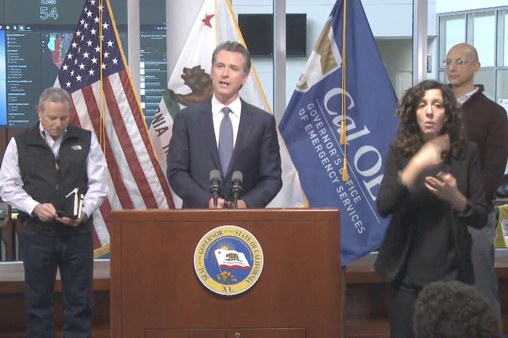 newsom stay at home